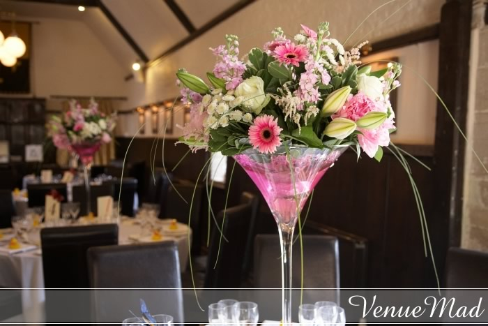 Wedding Table Decoration Martini Glass Flower Display