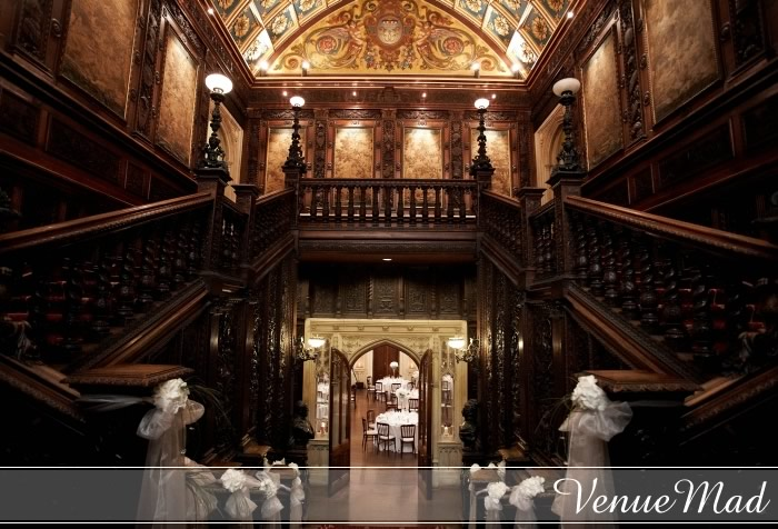 Grand Staircase Carved Oak Wedding Reception Decor