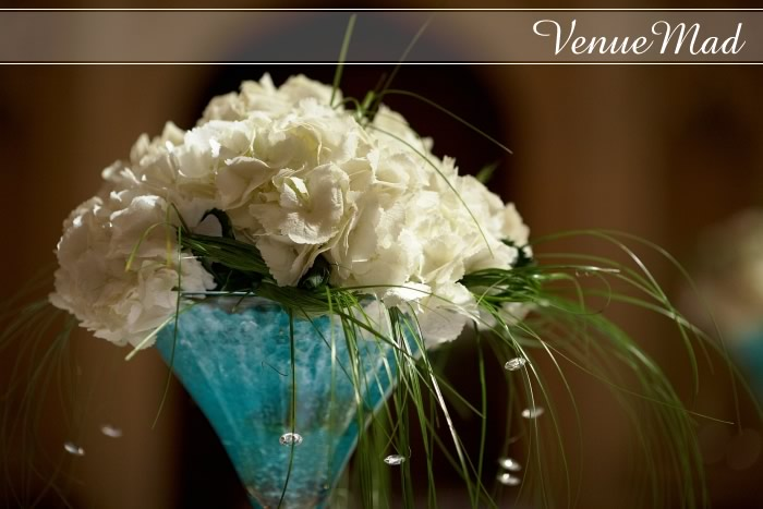 Peonie And Beargrass Table Center Using Martini Glass