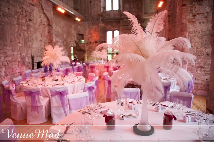 Feather Table Decorations from wedding at Lulworth
